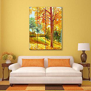 Autumn Park Wood 20X24 Wood Plank Wall Art, Orange, rollover