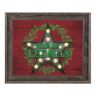 Merry Texmas - Red 24X36 Barnwood Framed Canvas, Red, large