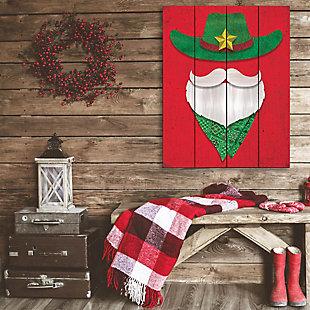 Cowboy Santa - Red Craquelure 09X12 Wood Plank Wall Art, , rollover