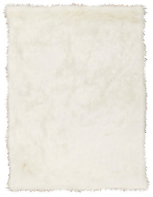 Nourison Mina Victory Fur 5' x 7' Rug, White, large