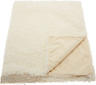 """Nourison Mina Victory 50"""" x 60"""" White Curly Faux Fur Throw Blanket, , large"""