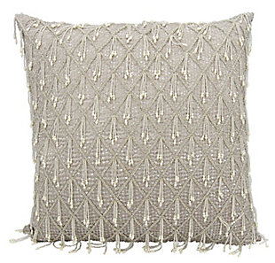 """Nourison Mina Victory Couture Luster 20"""" X 20"""" Throw Pillow, Gray, rollover"""
