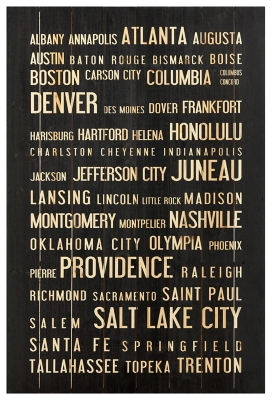 Ashley Home Accents USA Cities Wall Art, Black