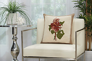 """Nourison Mina Victory Natural Wildflower Bouquet 18"""" x 18"""" Throw Pillow, , rollover"""