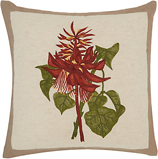 """Nourison Mina Victory Natural Wildflower Bouquet 18"""" x 18"""" Throw Pillow, , large"""