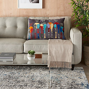 """Nourison Mina Victory Natural Leather Hide 20"""" x 30"""" Throw Pillow, , rollover"""