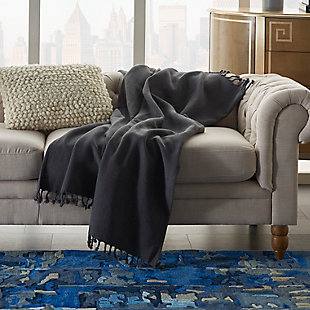 """Nourison Mina Victory 50"""" X 60"""" Throw Blanket, Charcoal, rollover"""