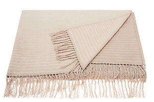 "Nourison Mina Victory Beige Loop Shag 50"" x 70"" Throw Blanket, Beige, large"