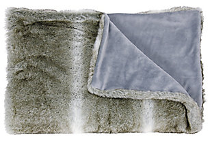 "Nourison Mina Victory Beige Loop Shag 50"" x 70"" Throw Blanket, Silver Gray, large"