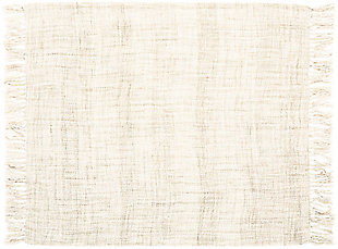 "Nourison Mina Victory Beige Loop Shag 50"" x 70"" Throw Blanket, Cream, rollover"