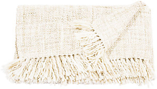 "Nourison Mina Victory Beige Loop Shag 50"" x 70"" Throw Blanket, Cream, large"