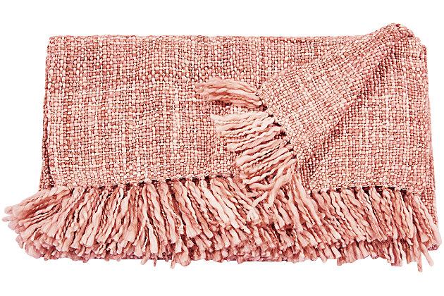 "Nourison Mina Victory Beige Loop Shag 50"" x 70"" Throw Blanket, Rose, large"