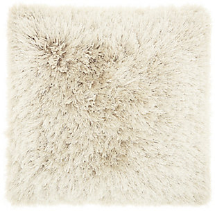 "Nourison Mina Victory Shag Beige Yarn Shimmer Shag 20"" x 20"" Throw Pillow, Beige, large"