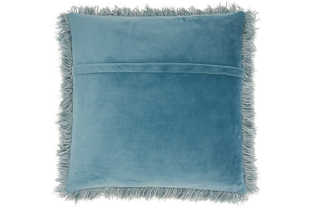"Nourison Mina Victory Shag Celadon Yarn Shimmer Shag 20"" x 20"" Throw Pillow, Celadon, large"