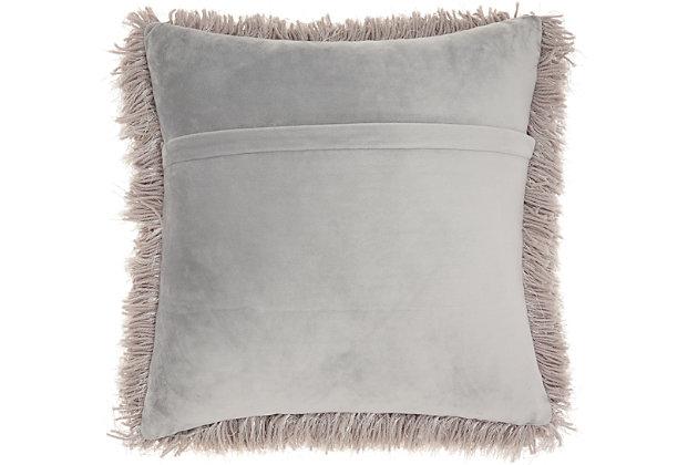 "Nourison Mina Victory Shag Light Grey Yarn Shimmer Shag 20"" x 20"" Throw Pillow, Light Gray, large"