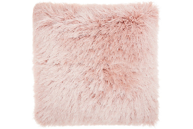 "Nourison Mina Victory Shag Rose Yarn Shimmer Shag 20"" x 20"" Throw Pillow, Rose, large"