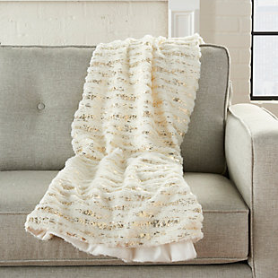 """Nourison Mina Victory Fur 50"""" x 60"""" Throw Blanket, Ivory Gold, rollover"""