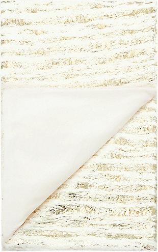 "Nourison Mina Victory Fur 50"" x 60"" Throw Blanket, Ivory Gold, large"