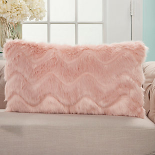 "Nourison Mina Victory Pink Chevron Faux Fur 14"" x 20"" Throw Pillow, , rollover"