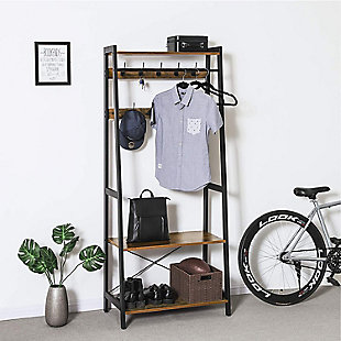 Industrial Coat Rack 2-Tiers with 9 Hooks, , rollover