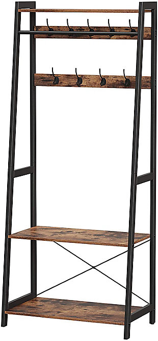 Industrial Coat Rack 2-Tiers with 9 Hooks, , large