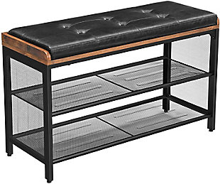 Padded Storage Bench with Mesh Shelf, , large
