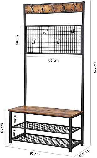 Industrial Hall Tree with Grid and 9 Hooks, , large