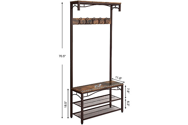 Industrial 3-in-1 Hall Tree, , large