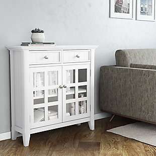 Acadian Rustic White Storage Cabinet, White, rollover