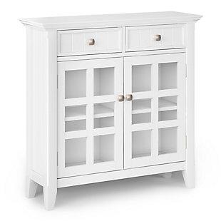 Acadian Rustic White Storage Cabinet, White, large