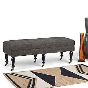 Henley Ebony Tufted Ottoman Bench, , rollover