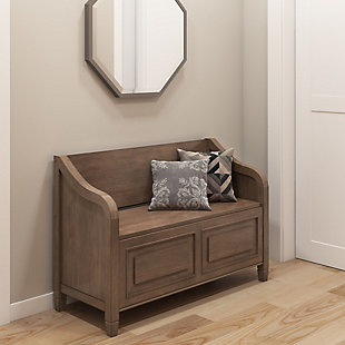 Connaught Entryway Brown Storage Bench, , rollover