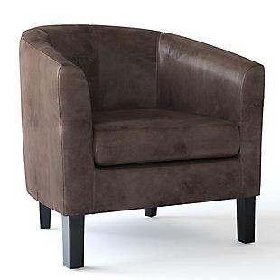 Austin Brown Faux Air Leather Tub Chair, Dark Brown, large