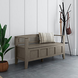 Adams Entryway Gray Storage Bench, , rollover