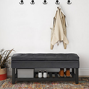 Cosmopolitan Black Faux Leather Storage Ottoman Bench, Black, rollover