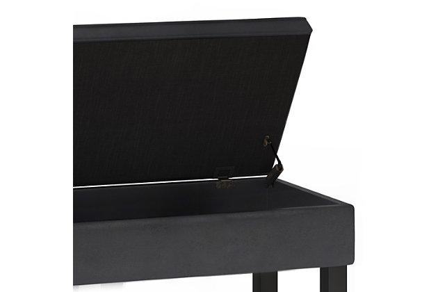 Cosmopolitan Black Faux Leather Storage Ottoman Bench, Black, large