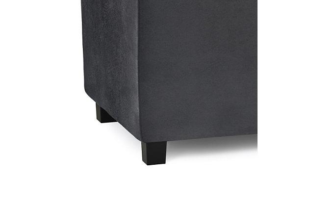 Avalon Black Faux Air Leather Storage Ottoman, Black, large