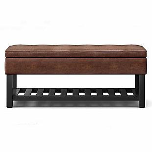 Cosmopolitan Brown Faux Leather Storage Ottoman Bench, Brown, large