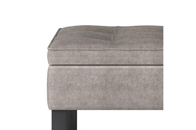 Cosmopolitan Gray Faux Leather Storage Ottoman Bench, Gray, large