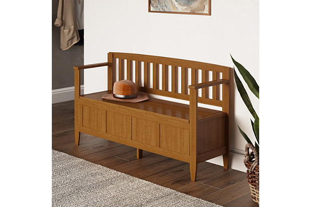 Brooklyn Golden Brown Entryway Storage Bench, , large