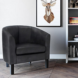 Austin Black Faux Air Leather Tub Chair, , rollover