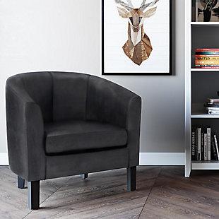 Austin Black Faux Air Leather Tub Chair, Black, rollover