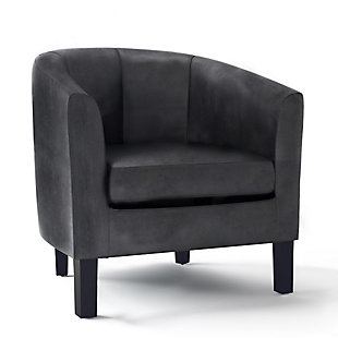 Austin Black Faux Air Leather Tub Chair, , large