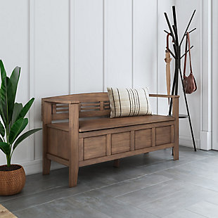 Adams Rustic Brown Entryway Storage Bench, , rollover