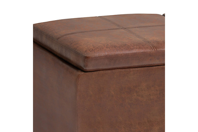 Avalon Brown Faux Air Leather Storage Ottoman, Brown, large
