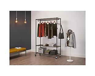 TRINITY 3-Tier 48x18x76 Rolling Garment Rack, , rollover