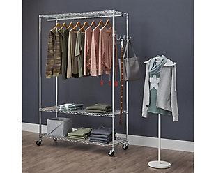 TRINITY EcoStorage™ 3-Tier 48x18x75.5 Rolling Garment Rack, , rollover