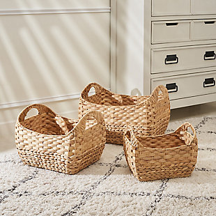 Amelia 3-Piece Assorted Stackable Basket Set with Handles, , large