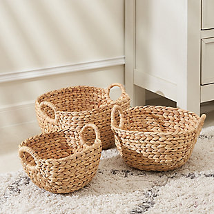 Amelia 3-Piece Assorted Stackable Basket Set with Handles, , rollover