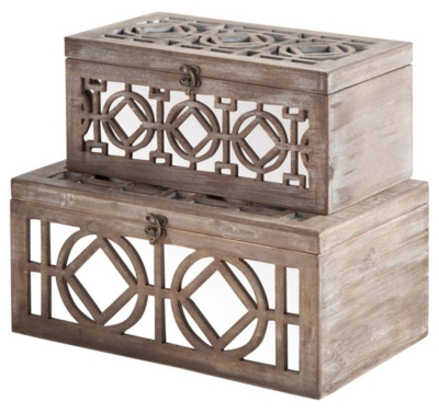 Ashley Home Accents Box (Set of 2), Brown